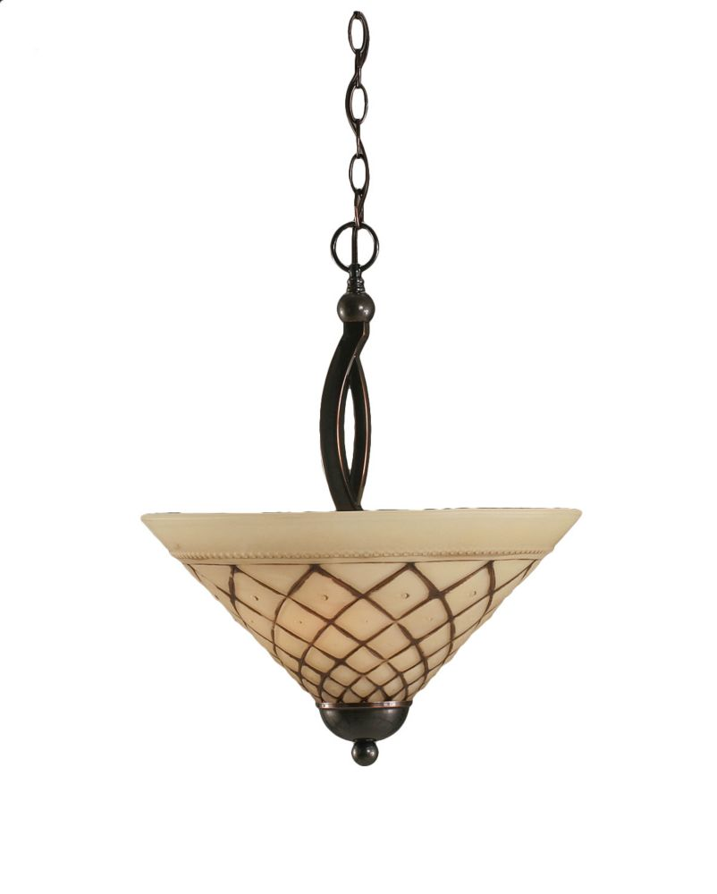 Concord 2-Light Ceiling Black Copper Pendant with a Chocolate Icing Glass