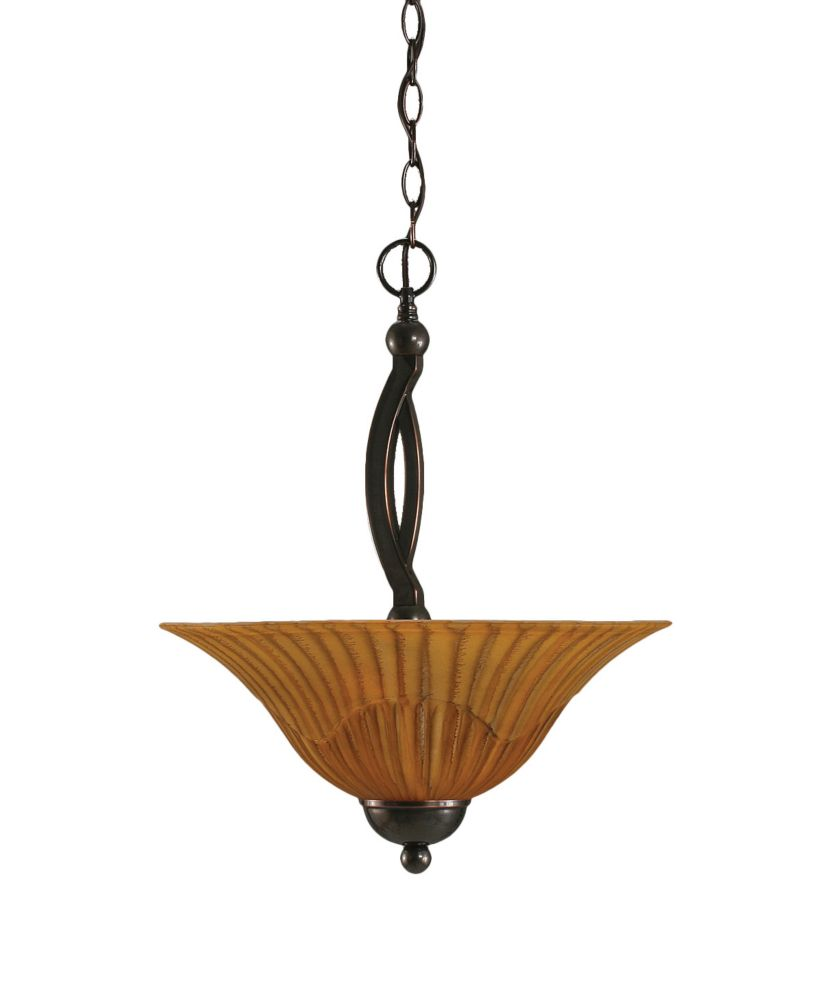 Concord 2-Light Ceiling Black Copper Pendant with a Tiger Glass