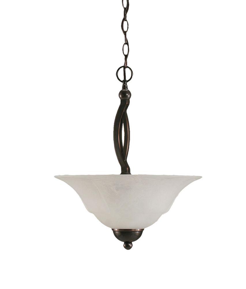 Concord 2 lumières plafond Noir Copper Pendeloque à incandescence avec un verre de marbre blanc