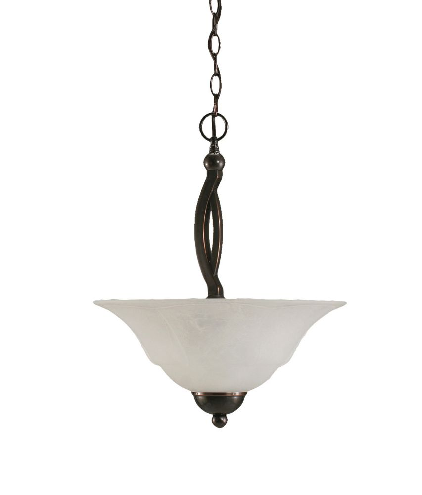 Concord 2-Light Ceiling Black Copper Pendant with a White Marble Glass