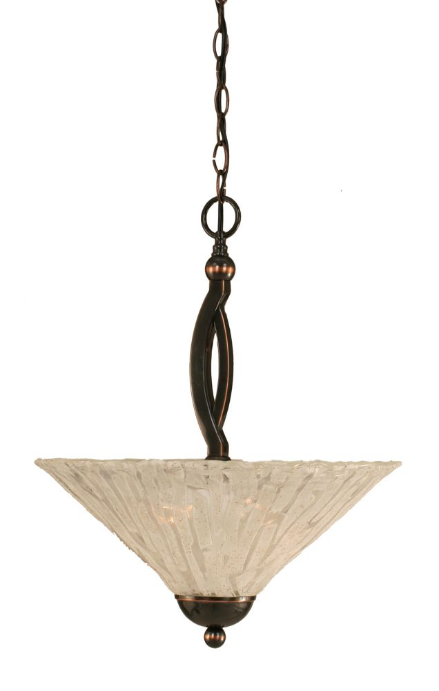 Concord 2 Light Ceiling Black Copper Incandescent Pendant with a Clear Crystal Glass