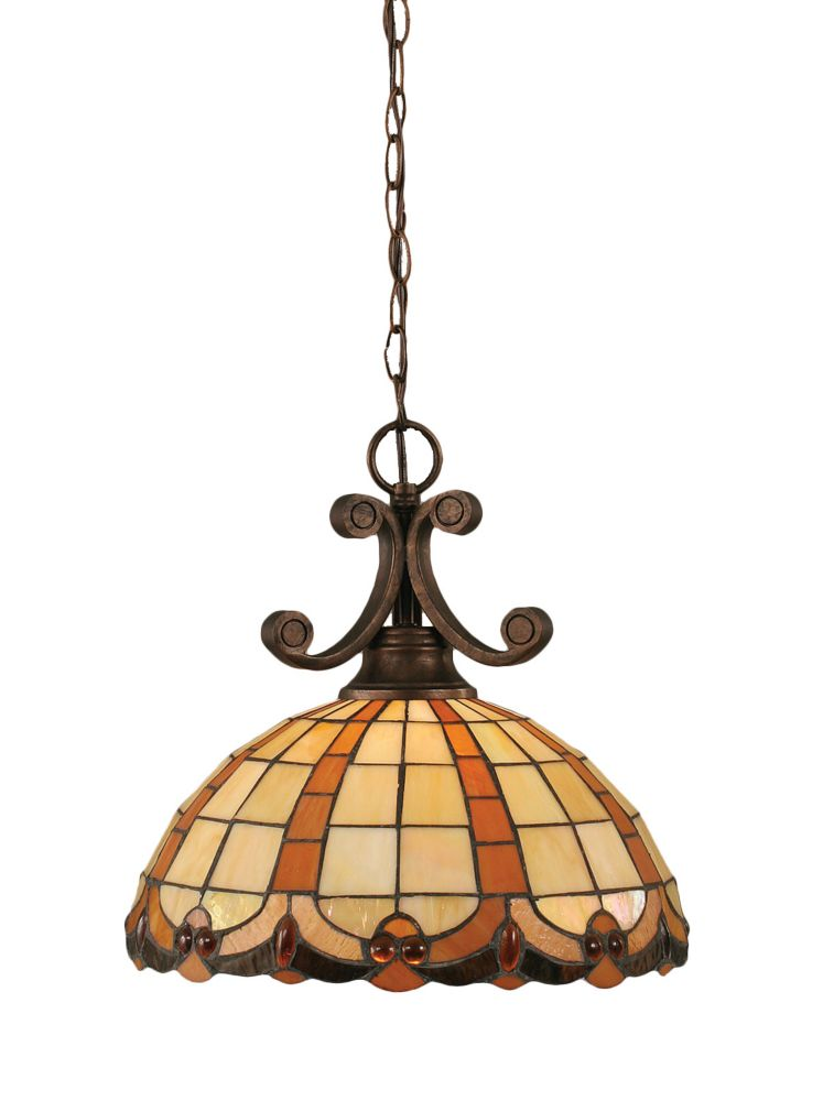 Concord 1-Light Ceiling Bronze Pendant with a Butterscotch Tiffany Glass