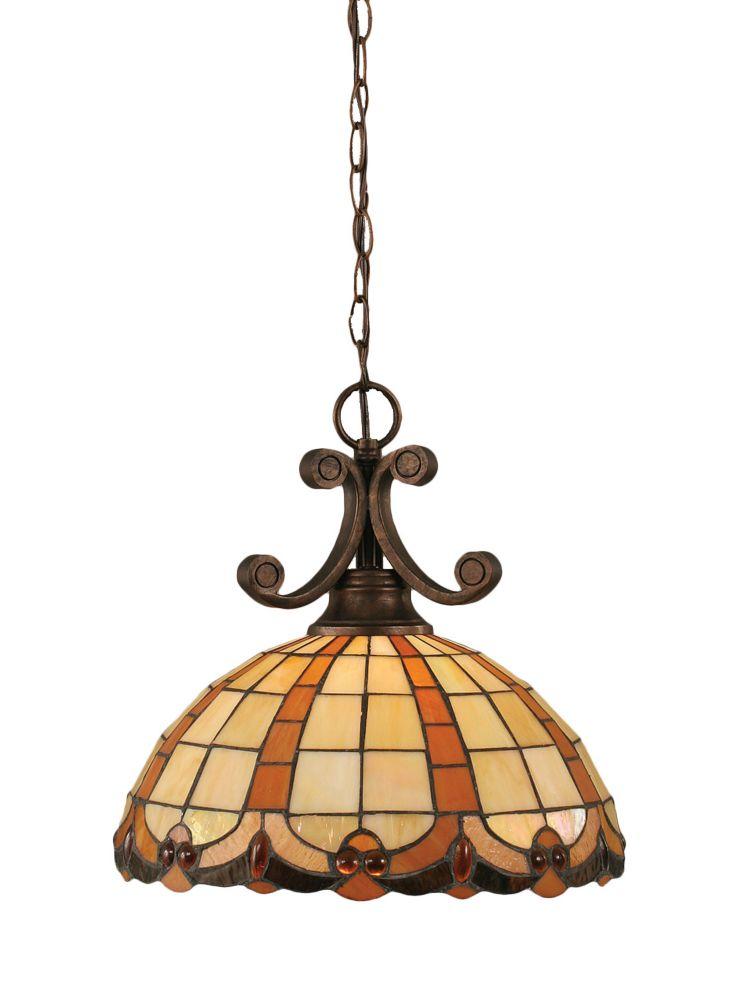 Concord 1 lumière au plafond Bronze Pendeloque incandescence par une Caramel Le verre selon Tiffa...