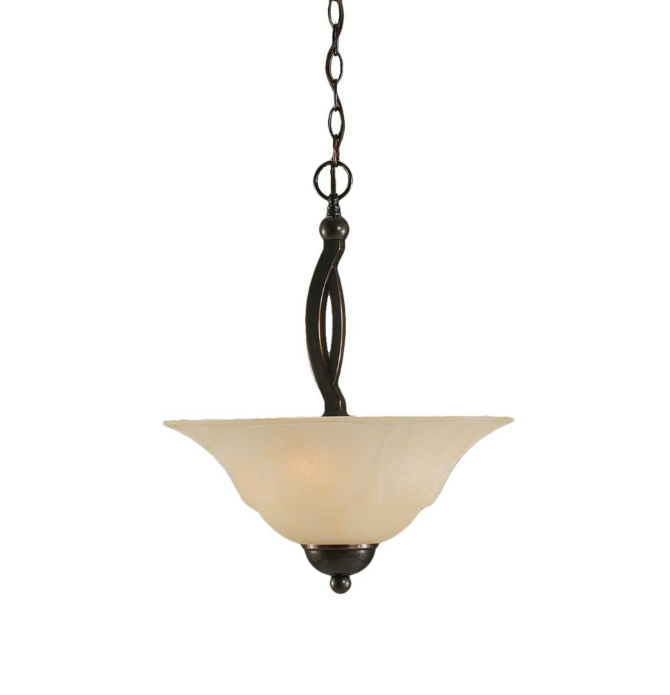 Concord 2 Light Ceiling Black Copper Incandescent Pendant with an Amber Glass