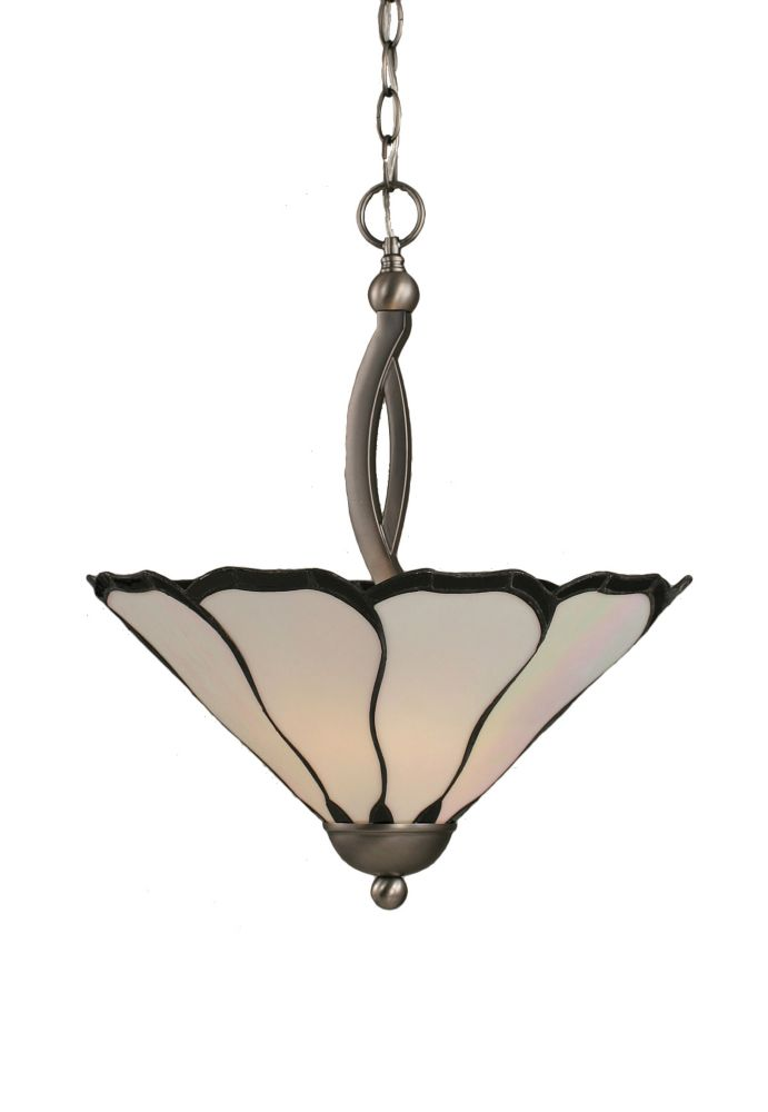 Concord 2-Light Ceiling Brushed Nickel Pendant with a Pearl Flair Tiffany Glass