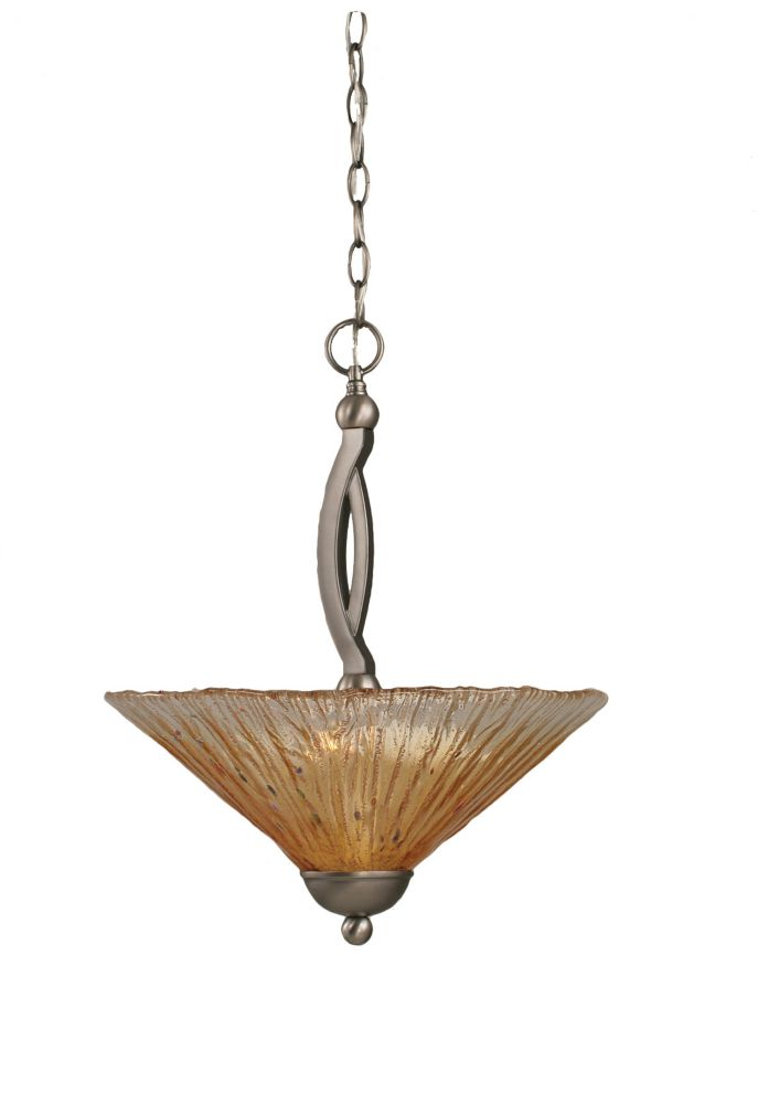Concord 2 Light Ceiling Brushed Nickel Incandescent Pendant with an Amber Glass