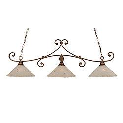 Filament Design Concord 3 lumières plafond Bronze Incandescent Bar Billard avec un verre cristal givré