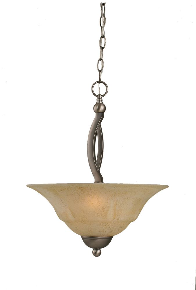Concord 2 Light Ceiling Brushed Nickel Incandescent Pendant with an Italian Marble Glass