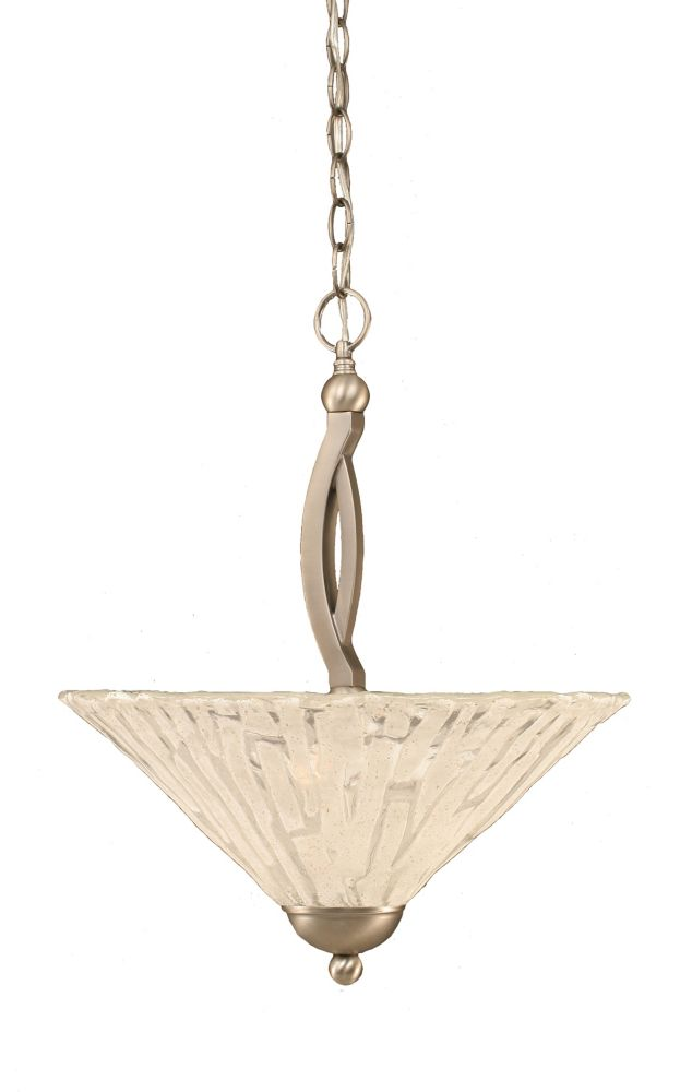 Concord 2-Light Ceiling Brushed Nickel Pendant with a Clear Crystal Glass