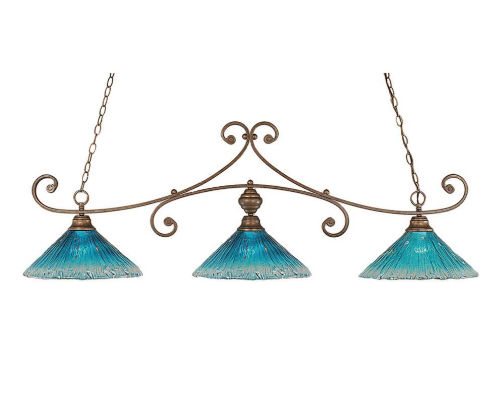 Concord 3 lumières plafond Bronze Incandescent Bar Billard avec un cristal de verre Teal