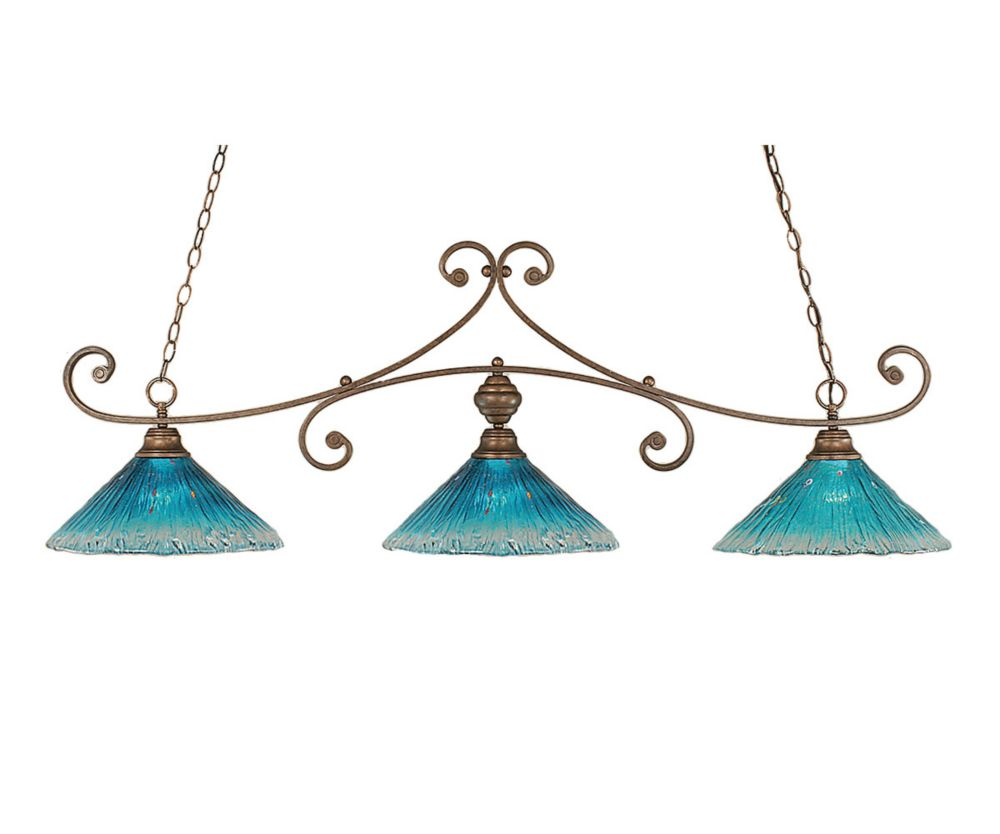 Concord 3-Light Ceiling Bronze Billiard Bar with a Teal Crystal Glass