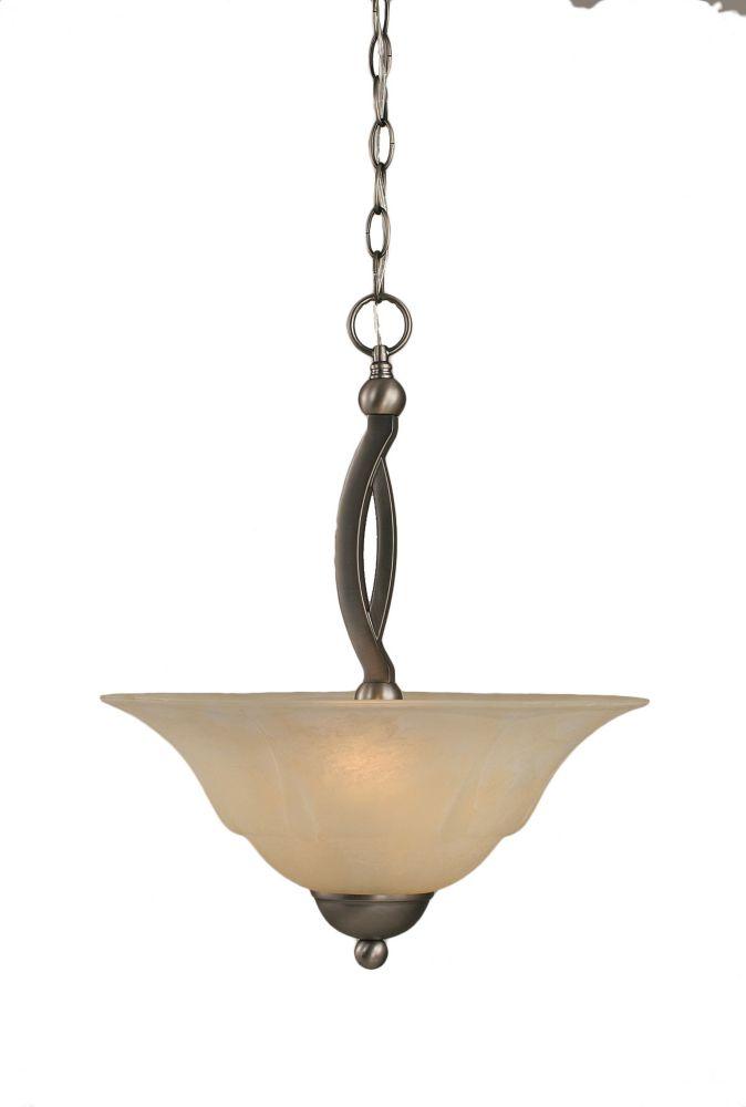 Concord plafond à 2 lumières, nickel brossé Pendeloque incandescence par un verre ambre