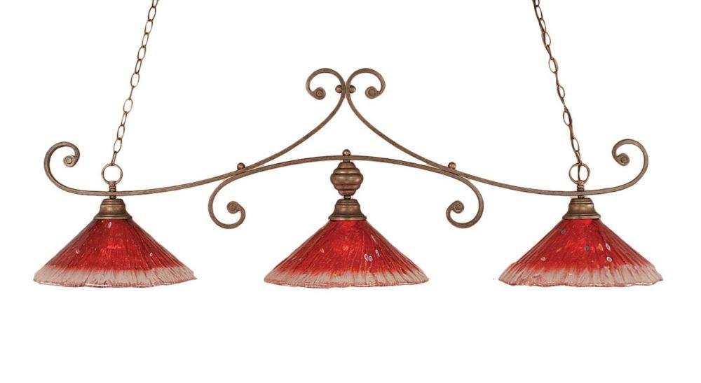 Concord 3-Light Ceiling Bronze Billiard Bar with a Raspberry Crystal Glass