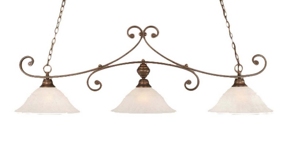 Concord 3 Light Ceiling Bronze Incandescent Billiard Bar with a White Marble Glass