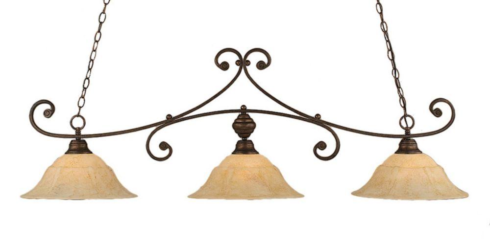 Concord 3 lumières plafond Bronze Incandescent Bar de billard avec un verre marbre italien