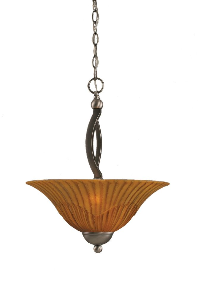 Concord 2-Light Ceiling Brushed Nickel Pendant with a Tiger Glass
