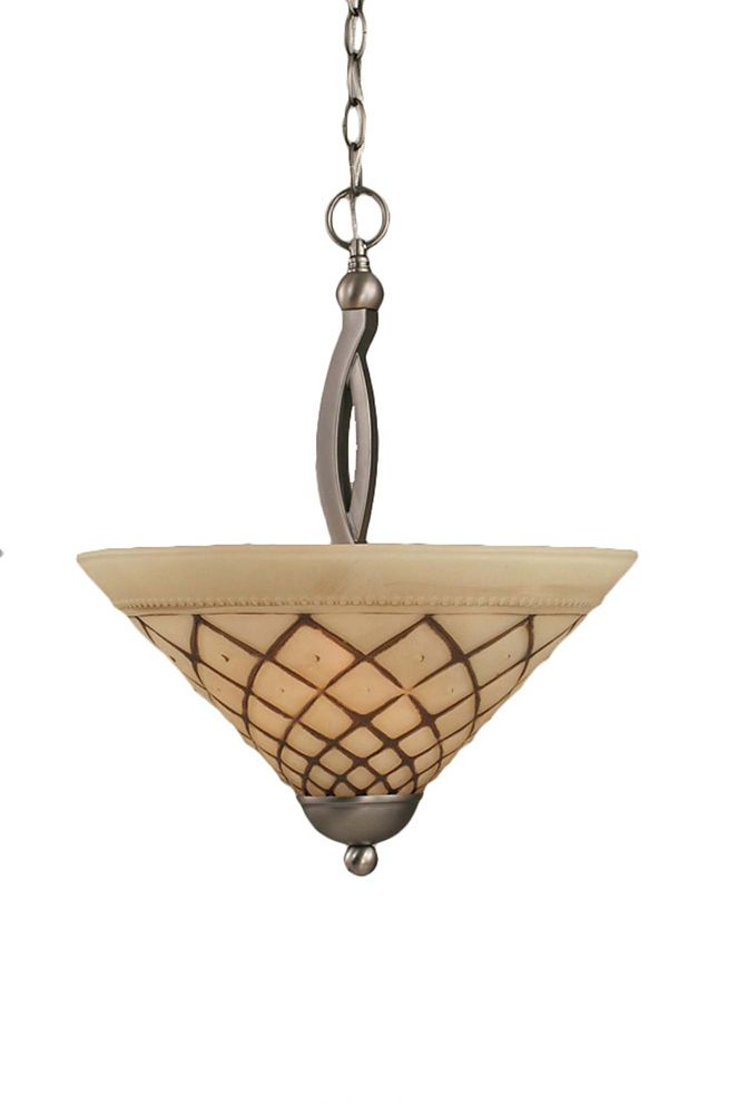 Concord 2 Light Ceiling Brushed Nickel Incandescent Pendant with a Chocolate Icing Glass
