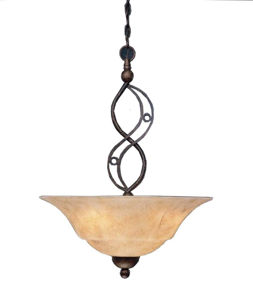 Concord 3 Light Ceiling Bronze Incandescent Pendant with an Italian Marble Glass
