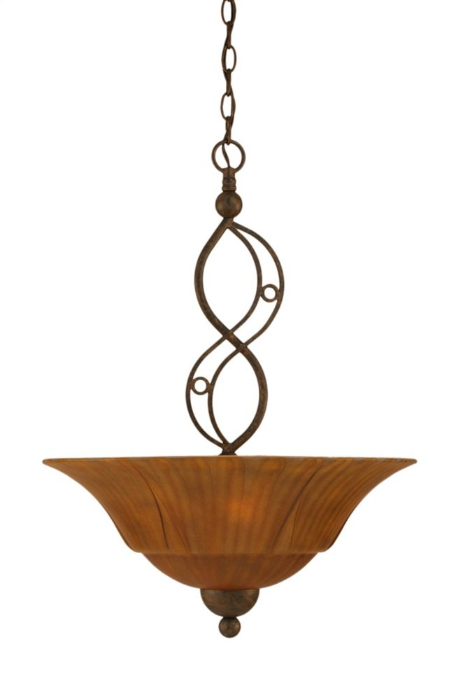Concord 3-Light Ceiling Bronze Pendant with a Tiger Glass