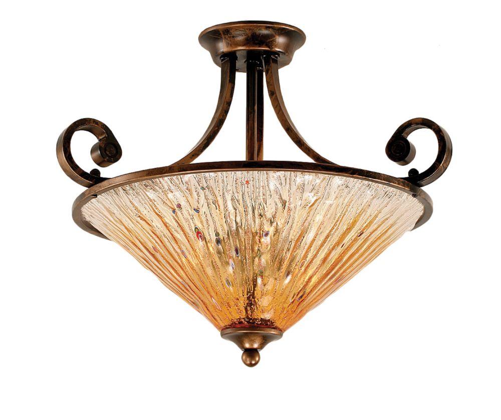 Concord 3 lumières plafond Bronze Pendeloque incandescence par un verre ambre