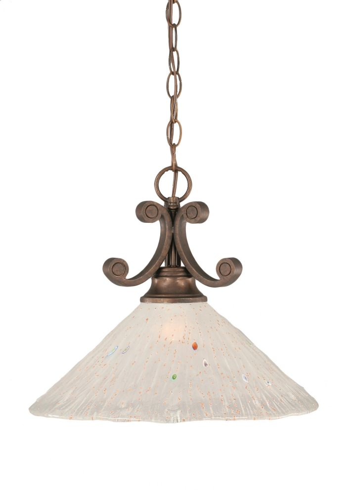 Filament Design Concord 1 Light Ceiling Bronze Incandescent Pendant with a Frosted Crystal Glass