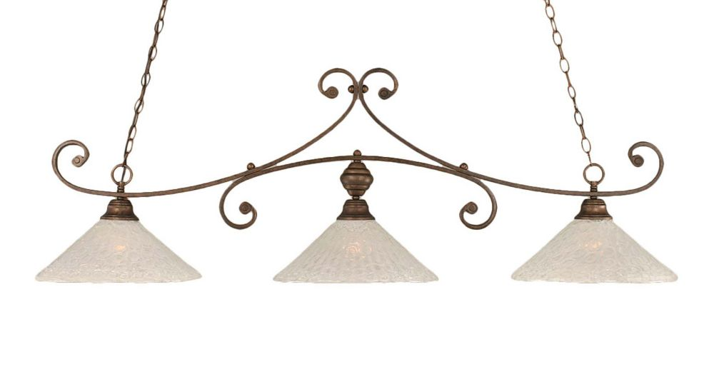 Concord 3-Light Ceiling Bronze Billiard Bar with a Clear Crystal Glass