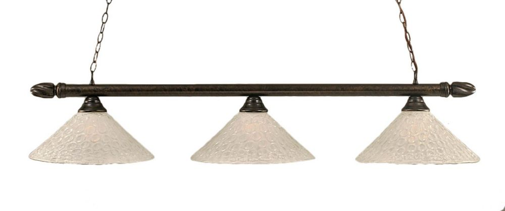 Concord 3 Light Ceiling Bronze Incandescent Billiard Bar with a Clear Crystal Glass