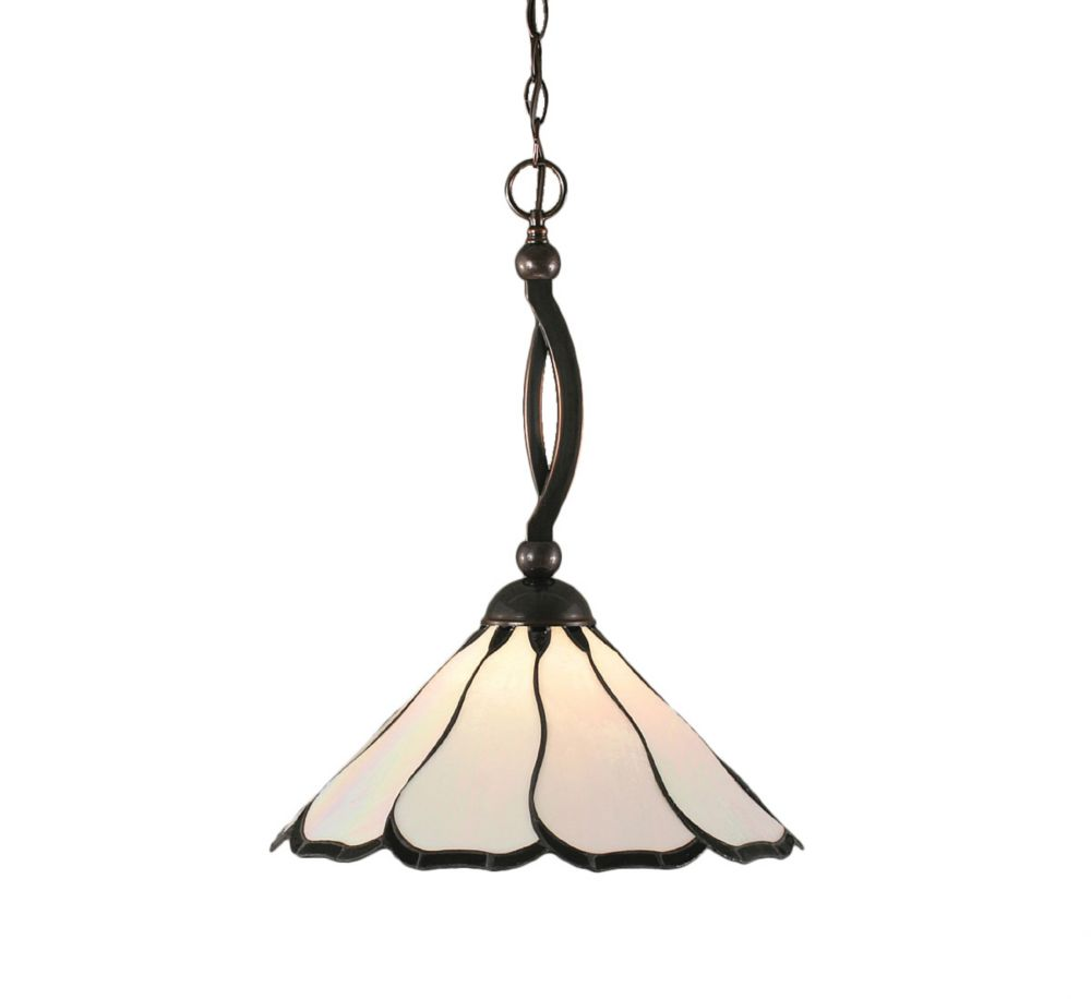 Concord 1 Light Ceiling Black Copper Incandescent Pendant with a Pearl Flair Tiffany Glass
