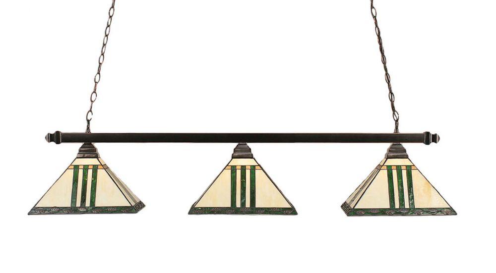 Concord 3 lumières plafond noir cuivre incandescent Bar Billard avec un vert verre selon Tiffany