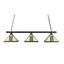 Filament Design Concord 3 lumières plafond noir cuivre incandescent Bar Billard avec un vert verre selon Tiffany