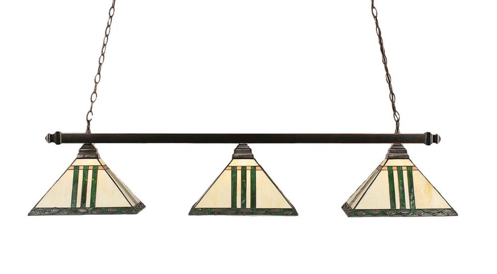 Concord 3-Light Ceiling Black Copper Billiard Bar with a Green Tiffany Glass