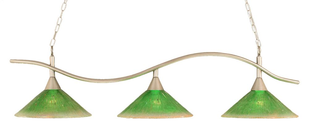 Concord 3-Light Ceiling Brushed Nickel Billiard Bar with a Green Crystal Glass