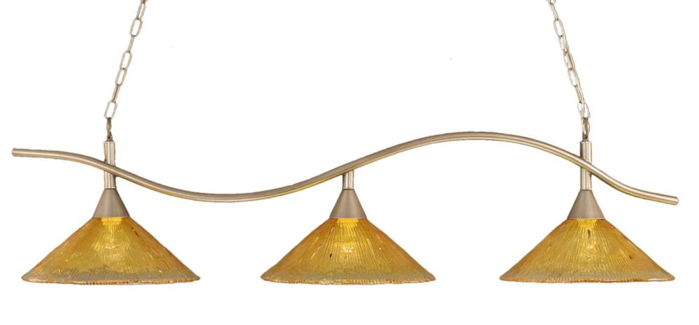 Concord 3-Light Ceiling Brushed Nickel Billiard Bar with a Gold Champagne Crystal Glass