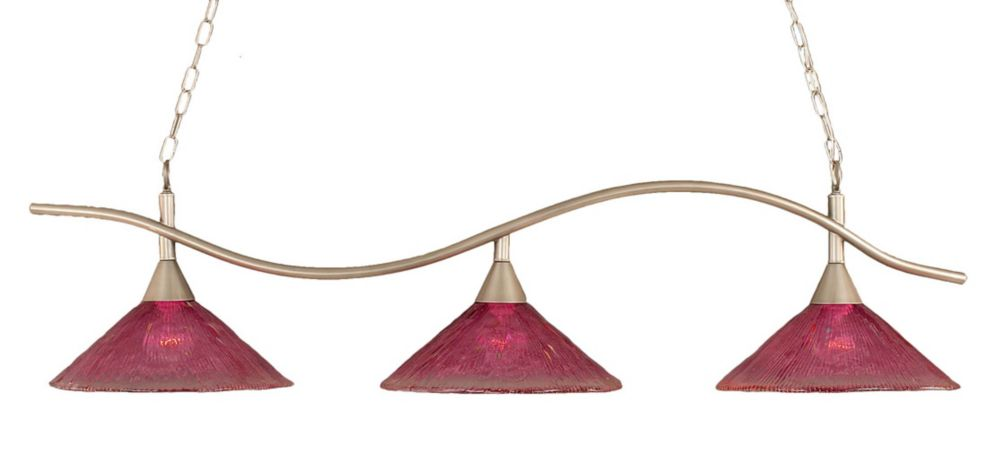 Concord 3 Light Ceiling Brushed Nickel Incandescent Billiard Bar with a Wine Crystal Glass