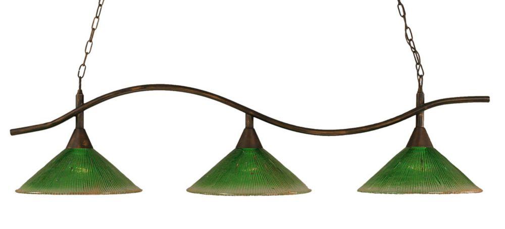 Concord 3 lumières plafond Bronze Incandescent Bar Billard avec un cristal en verre vert