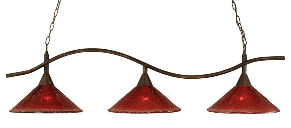 Concord 3 Light Ceiling Bronze Incandescent Billiard Bar with a Raspberry Crystal Glass