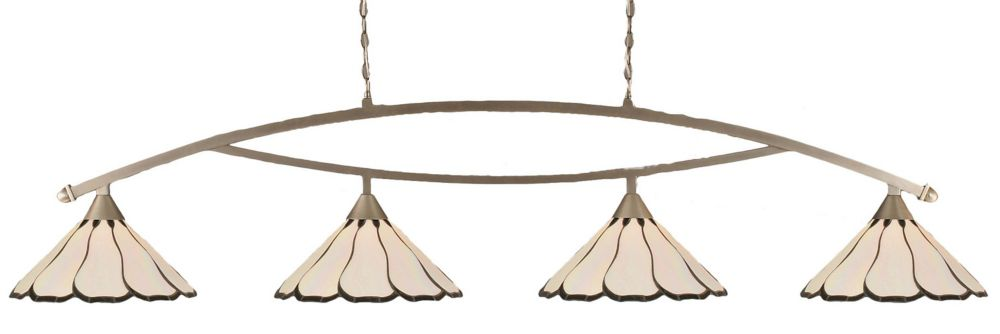 Filament Design Concord 4 Light Ceiling Brushed Nickel Incandescent Billiard Bar with a Pearl Flair Tiffany Glass