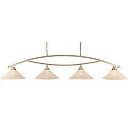 Filament Design Concord plafond 4 lumières, nickel brossé à incandescence Bar Billard avec un verre cristal givré