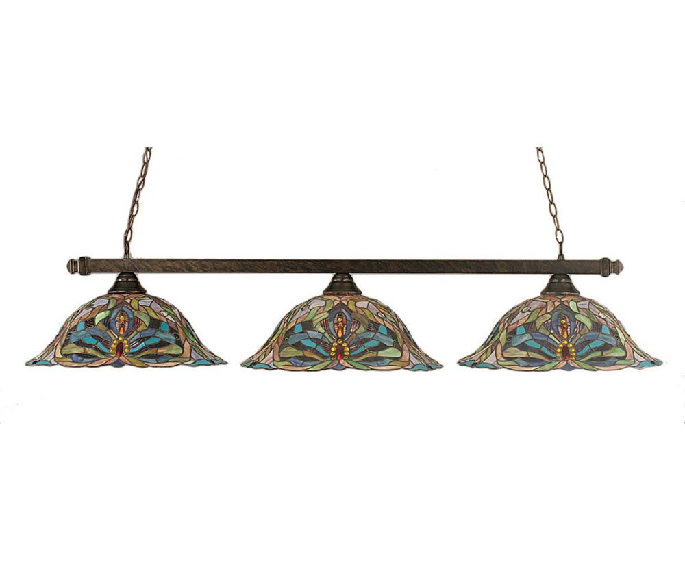 Concord 3 Light Ceiling Bronze Incandescent Billiard Bar with Kaleidoscope Tiffany Glass