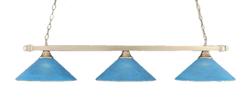 Concord 3 Light Ceiling Brushed Nickel Incandescent Billiard Bar with a Blue Italian Glass