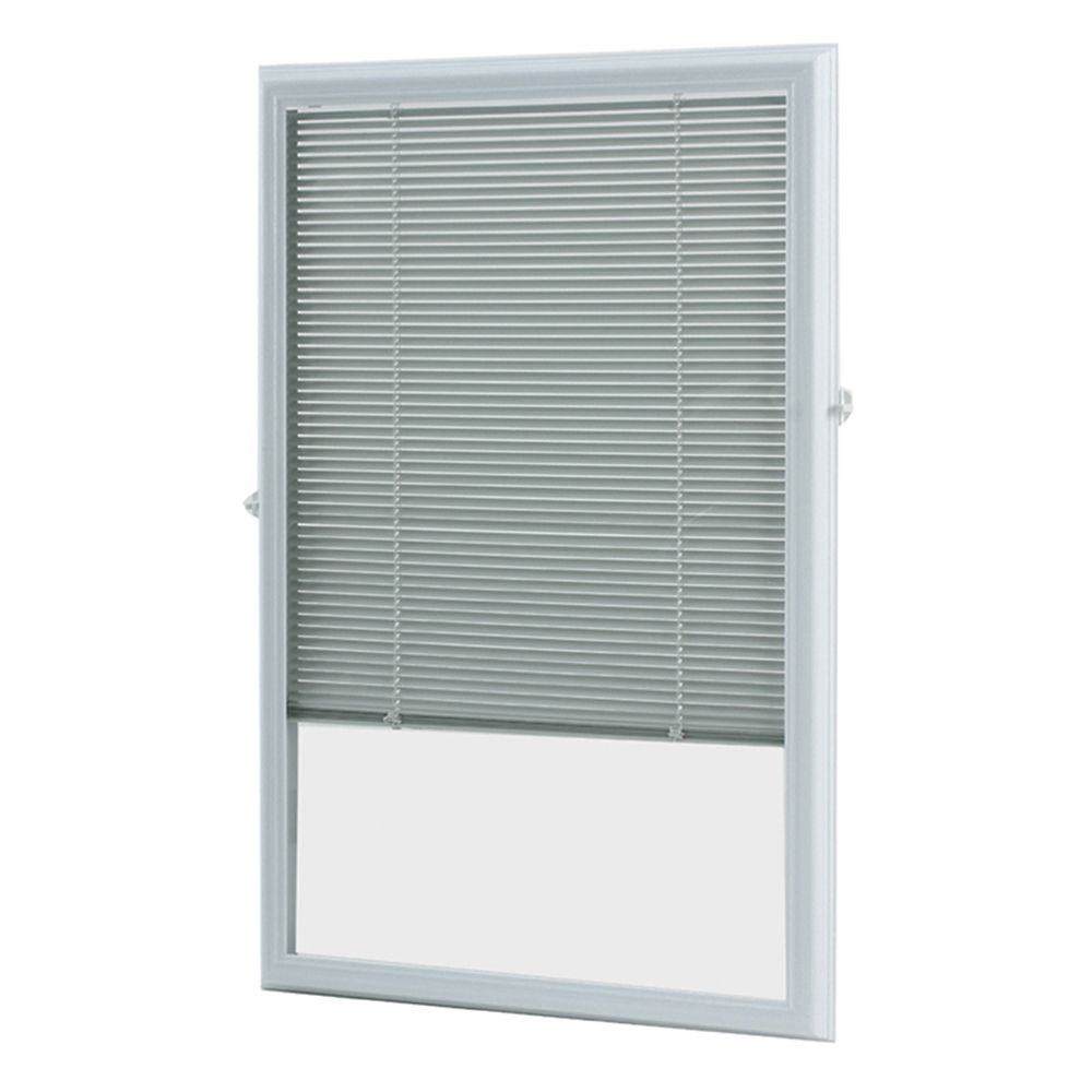 ODL 22-inch x 36-inch White Aluminum Add-on Blind for Half View Doors
