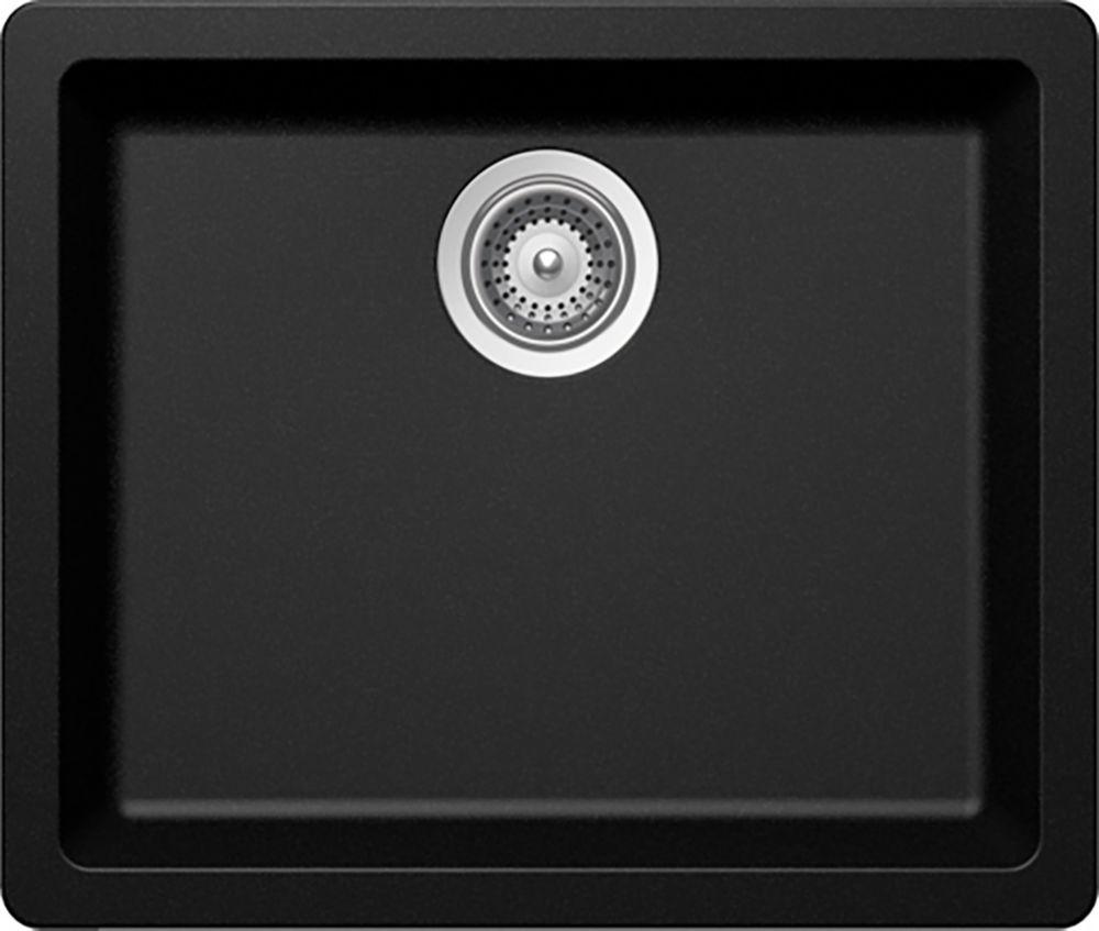 Évier en granit à une cuve à montage universel en noir