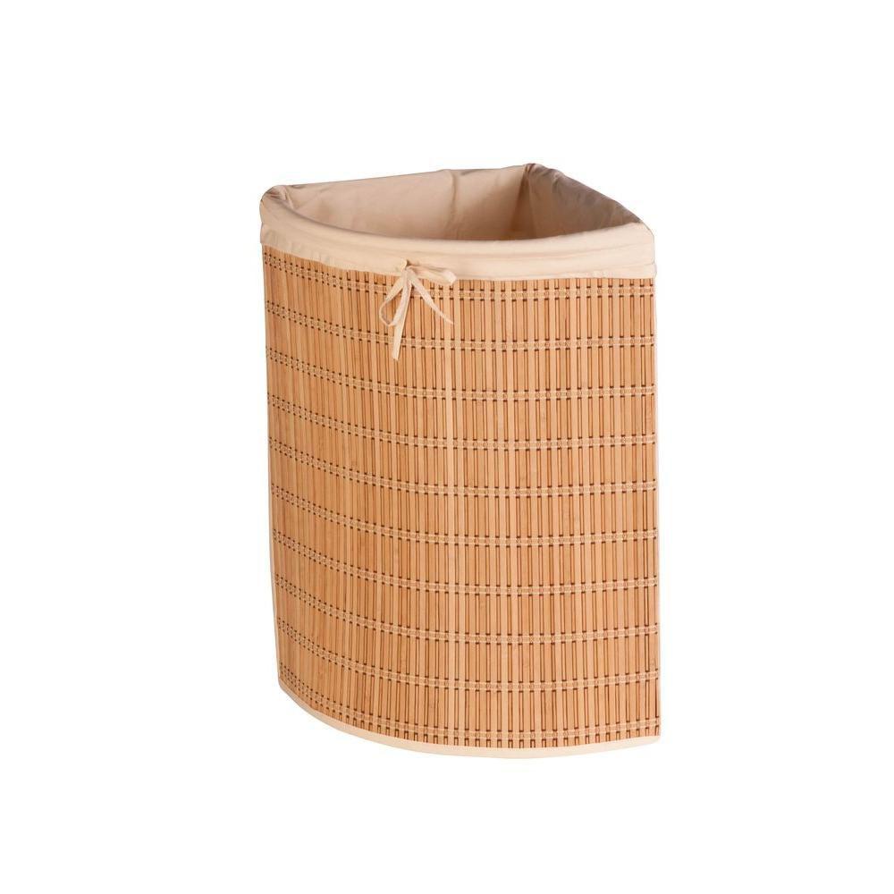 Honey-Can-Do International Bamboo Wicker Corner Laundry Hamper