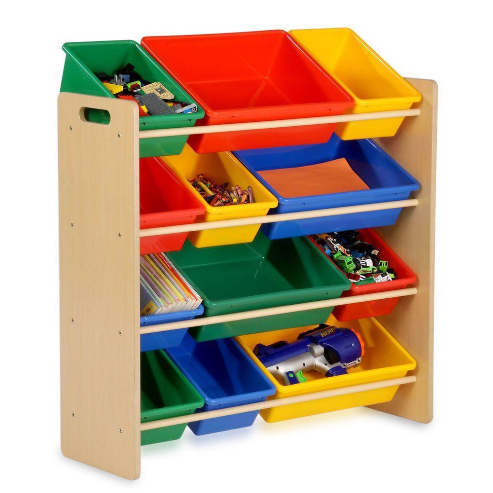 Honey-Can-Do International Kids Storage Organizer- 12 Bins- Natural