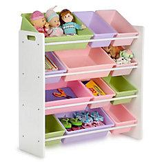 12-Bin Storage Organizer in White & Pastels for Kids