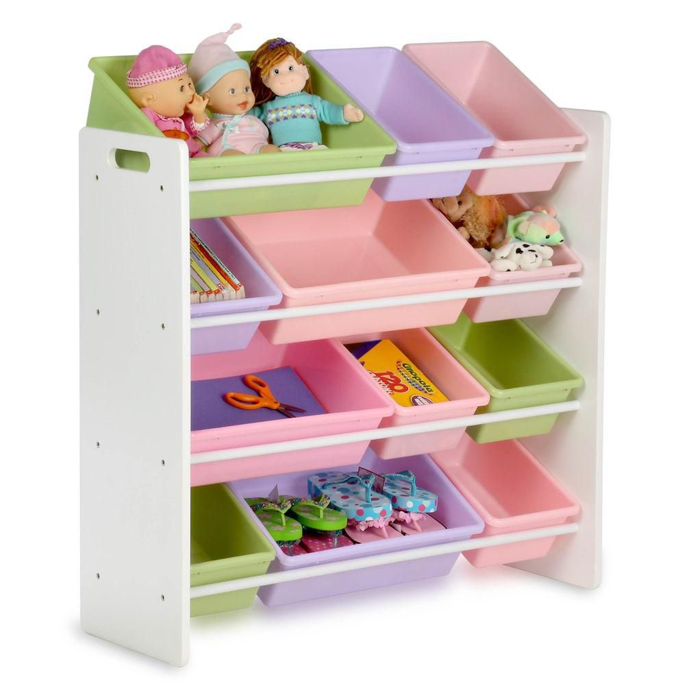 Honey-Can-Do International 12-Bin Storage Organizer in White & Pastels for Kids