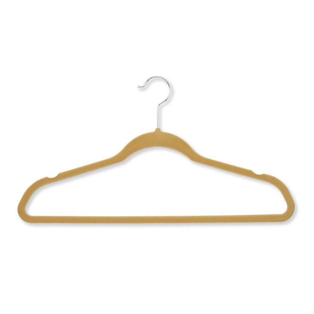 20 Pack Velvet Touch Suit Hanger, Tan