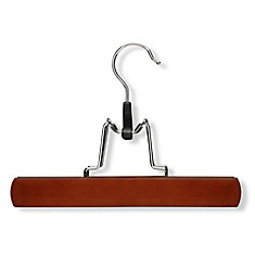 16 Pack Basic Clamp Pant Hanger, Cherry Finish