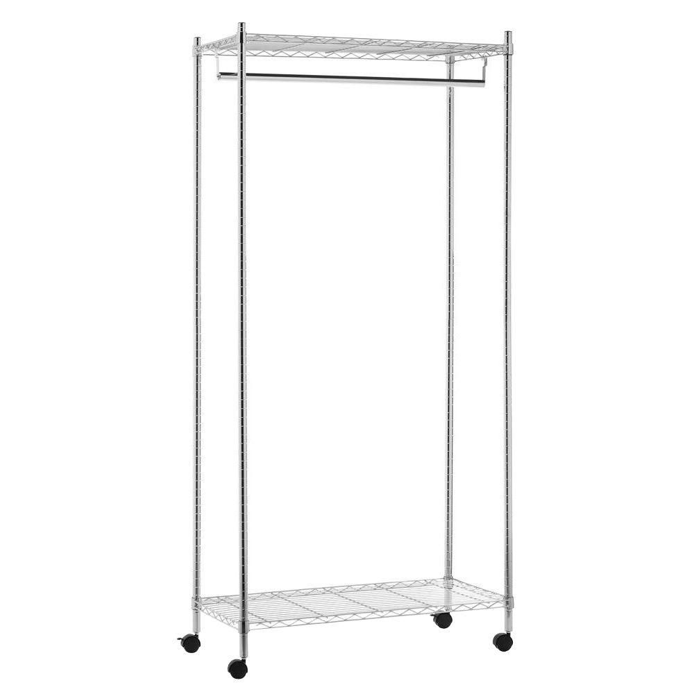Honey-Can-Do International Deluxe Commercial Urban Steel Rolling Garment Rack in Chrome