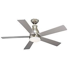 Ventilateur de plafond d'intérieur Cobram, nickel brossé, 48po, dispositif d'éclairage à DEL